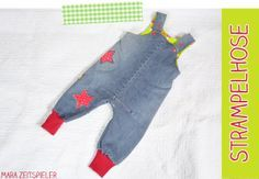 Strampelhose aus alter Jeans / Romper made of an old pair of jeans