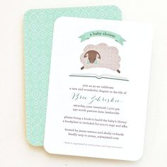 Baby Shower Invitation, Bring a Book Shower // LITTLE LAMB. $12.00, via Etsy.