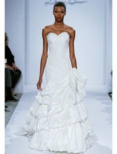 Dennis Basso Mermaid Wedding Dress with Sweetheart Neckline and Asymmetric Waist Waistline