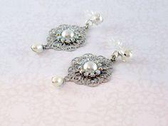 Wedding Earrings Pearl silver Vintage Earrings by TalilaDesign, $35.00