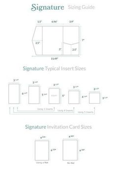 A sizing guide for our Signature Pocket Invitations. As well as an insert guide to help you purchase or create the perfect diy wedding invitations.
