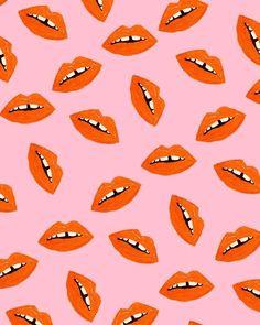 Orange Lips Pattern by Bouffants and Broken Hearts Orange Lips Pattern by Bouffants and Broken Hearts L Wallpaper, Whatsapp Wallpaper, Pattern Wallpaper, Wallpaper Backgrounds, Trendy Wallpaper, Textures Patterns, Print Patterns, Fun Patterns, Poster Art