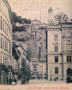 Salzburg Griesgasse mit Mönchsbergaufzug Salzburg, Grey Wallpaper Iphone, Vienna Austria, Berg, Vintage, Historical Pictures, Primitive