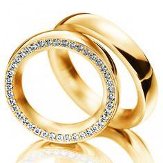 Par de Alianças Milão ♥ Alianças Casamento e Noivado em Ouro 18 K Reisman