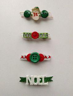Christmas barrette, holiday barrette, snowman, santa hat, penguin, noel, button barrette