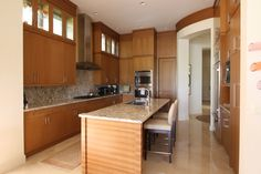 Rift cut white Oak and zebra wood Kitchen.