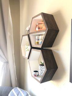 Hexagon Floating Shelves, Honeycomb Shelf, Home Decor, Wood Hex Shelf, Floating Shelving, Mid Century Modern, Minimalist, 3 Grande Shelves