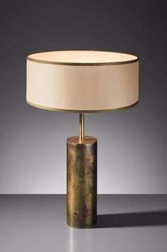 49b02147ec Vintage Modernist Brass Table Lamp with Cylindrical Cream Linen Shade     Jacques Quinet  Brass Table Lamp from the Zambeze Ocean Liner