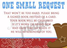 Western Baby Shower Book instead of Card Insert by MiMisMagic4You, $5.00 (See if I can have this customized to peacock colors)