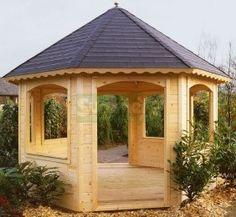 Wooden Gazebo   Wooden Gazebo 242 - Octagonal, 45mm Logs, Felt Tiles