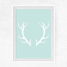 Deer Antlers Printable Mint Wall Art Deer Antlers by PrintsByDuo