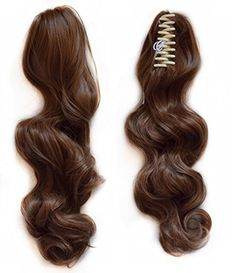 """SWACC Straight/Curly Claw Clip Ponytail Extension Synthetic Clip in Ponytail Hairpiece Jaw Clip Hair Extension (18"""" Curly, Dirty Brown-12#) -- Awesome products selected by Anna Churchill"""