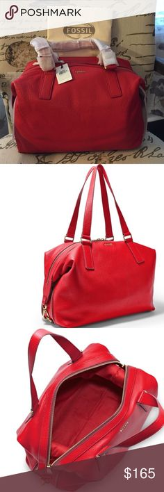 """NWT Fossil Preston Satchel NWT Fossil Preston Satchel. Gorgeous cherry red color.  Comes with Fossil dust bag.  INTERIOR Interior Details: 1 Zipper Pocket, 2 Media Pockets EXTERIOR Exterior Material: 100% Leather Handles/Straps: 1 Double Handle Hardware: Old English Brass Polished SIZE Measurements: 14""""L x 7""""W x 9""""H Strap/Handle Drop Length: 9"""" Handle Fossil Bags Satchels"""