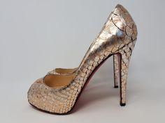773fc16a703 High Heel Hierarchy - Christian Louboutin Very Prive 120 Puthon Acid Silver  Peep Toe Heels 38
