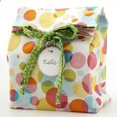 reusable gift bag. Made using fat quarter (plus lining fabric).