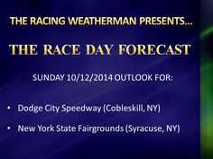Sunday RACE DAY FORECAST update now available at http://racingwxman.weebly.com/raceday-forecast.html