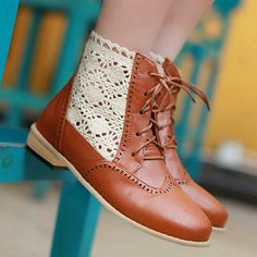 Buy '77Queen – Lace-Panel Lace-Up Ankle Boots' at YesStyle.com plus more China items and get Free International Shipping on qualifying orders.