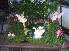 Miniature Fairy Garden - MIRROR, MIRROR IN MY HAND, WHO IS THE FAIREST IN THE LAND? is what the wise fairy asks herself as she holds a vanity mirror in her two hands, and admires the youthful fairy who sees herself in the reflection of the water. In the lake the white swan with three babies on her back and the green turtle with the baby turtle on its back gravitate toward the young fairy; while the two white rabbits remain playful. 8/2015