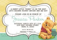 10 best very cool winnie the pooh baby shower invitations images on baby shower invitations winnie the pooh baby shower invitations cartoon yellow and green frame design filmwisefo