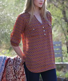 Look at this Angie Apparel Rust Floral Sheer Notch Neck Button-Front Top on #zulily today!