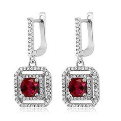 351 Ct Round Red Created Ruby 925 Sterling Silver Dangling Earrings ** Want additional info? Click on the image. Note: It's an affiliate link to Amazon.