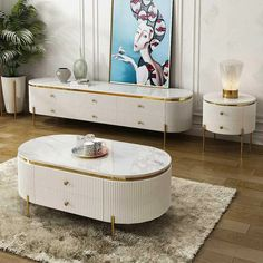Classic Bedroom Furniture, Modern Furniture, Furniture Design, White Round Coffee Table, Painted Coffee Tables, Apartment Design, Living Room, Hidden Storage, Marble Top