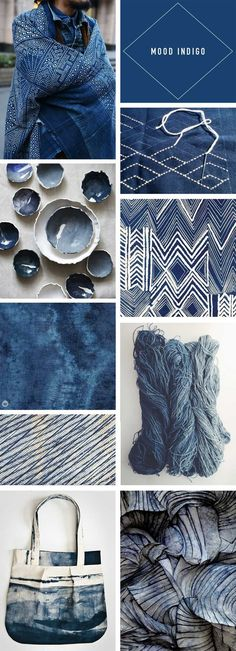 Fabric Designs Trend Story: Going deep with indigo - Think. - Indigo trend story featuring images from fashion, home décor, design, and crafting communities inspired by this deep color and its global roots. Bleu Indigo, Indigo Dye, Indigo Colour, Colour Schemes, Color Trends, Color Combinations, Colour Board, Color Stories, How To Dye Fabric
