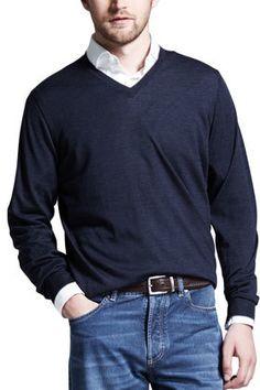Brunello Cucinelli Fine-Gauge V-Neck Sweater, Plum on shopstyle.com