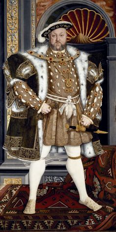 Henry VIII by Hans Holbein the Younger. Oil on panel, x 122 cm. (Studio of Hans Holbein) Tudor History, British History, Art History, History Facts, Ancient History, Rey Enrique Viii, Hans Holbein Le Jeune, Dinastia Tudor, Renaissance Fashion