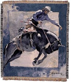 Personalized Countdown in Blue Western Tapestry Throw