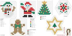 Weihnachten Dekoration Bügelperlen Vorlage- Christmas tree ornaments perler beads pattern