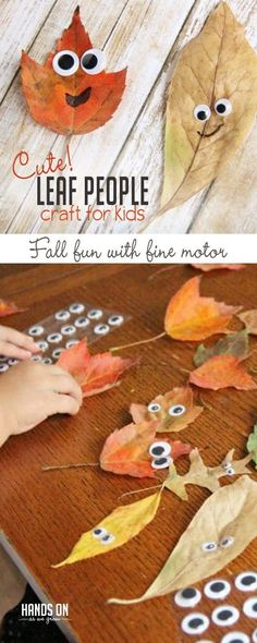 Kids of all ages will love making this leaf people fall craft with real leaves as they build fine motor skills and make memories this fall! Craft Cute Leaf People Fall Craft for Kids Autumn Activities For Kids, Fall Crafts For Kids, Craft Activities, Holiday Crafts, Art For Kids, Fall Toddler Crafts, Children Crafts, Art Activities For Kindergarten, Baby Fall Crafts