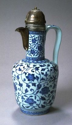 Blue-and-White Ewer with Silver Fittings, China, early 15th century, Porcelain with underglaze blue painting
