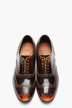 PAUL SMITH  Yellow  Red Brushed Leather Wingtip Chuck Brogues