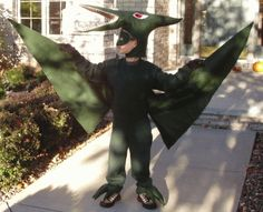 This year my 7 year old decided he wanted to be a pterodactyl. It's not only hard to spell but hard to make! He was happy with the completed version of his vision.