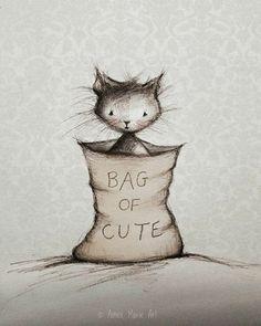 """""""Bag of Cute"""" ~ Kitty cat."""