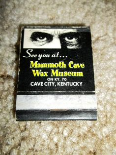 Vintage Mammoth Cave Wax Museum Cave City Kentucky Matchbook KY glasgow