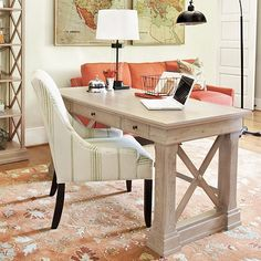 Bourdonnais Desk (painted AS french linen with brass accents)
