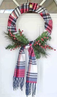 DIY Holiday Wreath Ideas – Learn How To Make Wreaths To Make Your Front Door Look Amazing – Dollar Store Hacks – Homemade Christmas Decor DIY Dollar Store Christmas Wreaths - Scraf Wreath The decoration of . Wreath Crafts, Diy Wreath, Christmas Projects, Holiday Crafts, Christmas Holidays, Christmas Ornaments, Wreath Ideas, Garland Ideas, Holiday Ideas