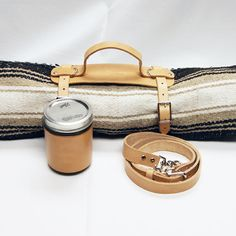 Handmade Leather Blanket Sling and Mason Jar Leather Koozie Sleeve with Handle