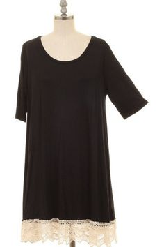Crochet Hem Black Dress