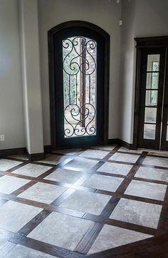 Wood Tile Nice mix of tile & wood --- creates an interesting look Hardwood Tile, Wood Tile Floors, Wood Look Tile, Wood Floor Design, Tile Design, Entry Tile, Entryway Flooring, Architecture, Home Remodeling