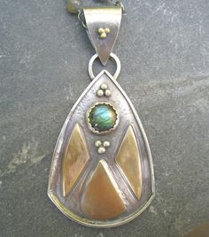Labradorite, Sterling Silver and Brass Pendant Long Necklace oxidized mixed metal gold silver with g