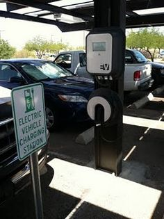 Electric car charging station at the public library Electric Station, Gas Station, Ev Charging Stations, Electric Cars, Sustainable Living, Solar Power, 3d Printing, Car Repair, Permaculture
