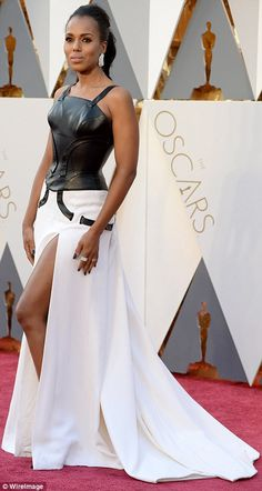 Daring: Kerry Washington took a risk in a black and white gown with a leather top and slit skirt