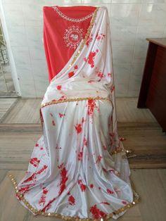 Satin shibouri sarees with blouse embroidery and mirror work lace Saree Styles, Blouse Styles, Blouse Designs, Pure Georgette Sarees, Satin Saree, Blouse Neck Patterns, Shibori Sarees, Elegant Fashion Wear, Indian Bridal Fashion