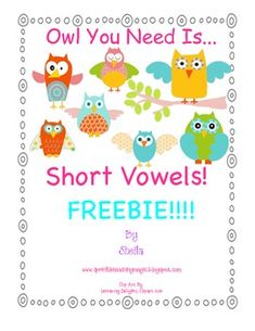 Bright, Colorful, Cute, Grab-Your-Heart Owls make vowels fun! It is yours! A Short Vowel Owl Freebie!! Pure excitement is generated when students s...