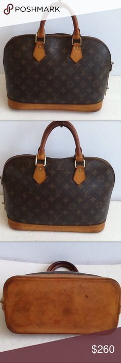 Authentic Louis Vuitton Alma PM Monogram Satchel. The leather had some frays on the 2 corners. The linen showed signs of used inside the bag. The straps and meatier showed signs of used and are darker. The date code BA1020. The canvas is in a good condition. Louis Vuitton Bags Satchels