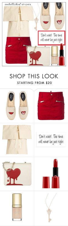 """Embellished Shoes: Casual"" by pat912 ❤ liked on Polyvore featuring Soludos, Dsquared2, Rosie Assoulin, Love Moschino, Giorgio Armani, Dolce&Gabbana, Effy Jewelry, polyvoreeditorial and womensFashion"