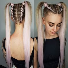 Top 36 Short Blonde Hair Ideas for a Chic Look in 2019 - Style My Hairs Ponytail Hairstyles, Cool Hairstyles, Teenage Hairstyles, Afro Ponytail, Ethnic Hairstyles, Rave Hair, Braids With Shaved Sides, Curly Hair Styles, Natural Hair Styles